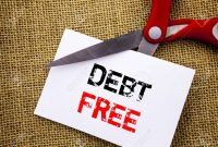 Handwriting text showing Debt Free. Conceptual photo Credit Money Financial Sign Freedom From Loan Mortage written on Sticky Note Paper Cutting by Scissors on the textured background
